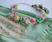 Pink Mint Cream Floral Crown - Floral Halo Floral Boho Headband Newborn Photo Prop Shabby Chic