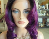 """SPRING SALE - Lace Front Natural Wavy Wig - Violet Blend with Dark Roots - Lace Front & Capless Wig - """"Lilly"""" - Human Hair Blend"""