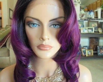 "SPRING SALE - Lace Front Natural Wavy Wig - Violet Blend with Dark Roots - Lace Front & Capless Wig - ""Lilly"" - Human Hair Blend"