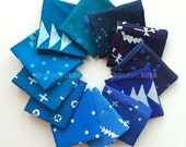 Handcrafted Indigos, Fat Quarter Bundle by Alison Glass for Andover Fabrics, COMPLETE