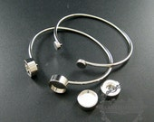 5pcs Screw Change Series 12mm setting size screwed bezel bangle bracelet rhodium plated brass DIY tray supplies jewelry findings 1900154