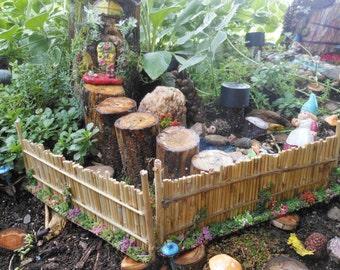 Fairy Garden Fences-Set of 2 double sided decorated fences-Bamboo Style Fences