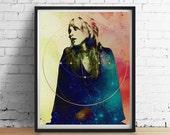 SACRED STEVIE Nicks Print, Sacred Geometry Print, Gold Foil Watercolor Galaxy, Fleetwood Mac Wall Decor, Stevie Nicks Art Poster Giclee