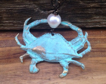 Crab Necklace ,Patina Crab Pendant on Antique Bronze  Chain, sea Ocean Nautical jewelry
