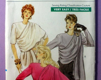Vogue 7390 - Very Easy Very Vogue - Close Fitting Top With Drape New Uncut Sizes 14 - 16 - 18 Vintage Pattern