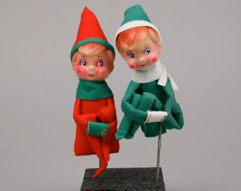 Vintage Pair of Elf Knee Huggers on Picks Ready for Kitschmas or Christmas Wreath or Flower Arrangement in Pristine Condition