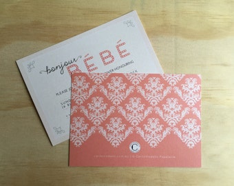 PRINTED Bonjour Bebe baby shower invitations with envelopes | various quantities