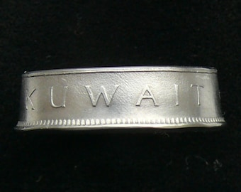 1985 (1405) Kuwait 50 Fils Coin Ring, Ring Size 7 1/2 and Double Sided