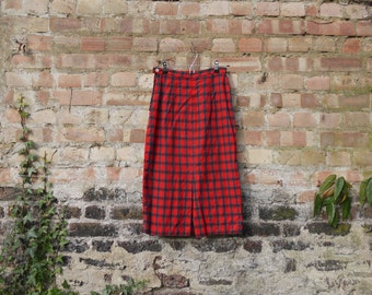 1950s check red tartan cotton skirt