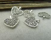 50pcs 15*16mm antique silver  love heart charms pendant C6297