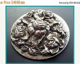"""Art Nouveau Repousse Brooch Pin Silver Metal Floral Design HUGE 2.5"""" Vintage"""