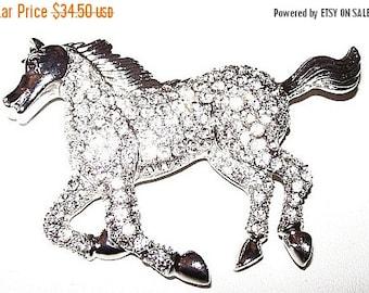 "Rhinestone Horse Brooch Pave Set Black RS Eye Silver Metal Galloping Stance 2 3/4"" Vintage"