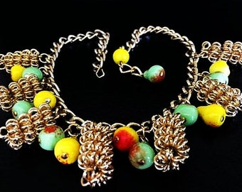 "Fruit Necklace Pear Apple Beads Lucite & Gold Metal Scroll Beads Carmen Miranda 16.5"" Vintage"