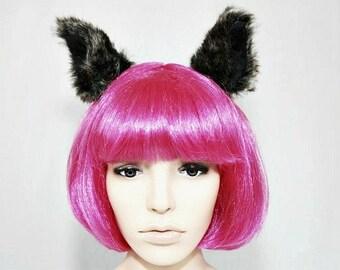 Wolf Ears- Wolf Costume- Harajuku- Cosplay- Halloween- Cat Ears- Kawaii- Lolita- Brown- Animal Ears- Costume - Faux Fur- Wolf Headpiece