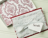 Will You Be My Bridesmaid Cards- Personalized Wedding Card Box. Wine Red Wedding Party Gift. Red Invitation.  Chevron. Damask. Quatrefoil.