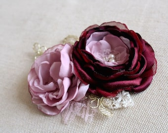 Flower Hair Clip, Corsage or Sash Flower, Wedding Bridal Fascinator, Statement Hair Piece, Bridesmaids Gift, Burgundy Antique Pink Gold Lace