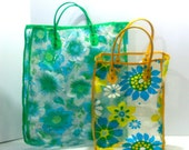 Vintage Flower Power Clear Plastic Vinyl Tote Bag for Grocery Market Beach or Bridesmaids Gifts Retro Hipster Yellow Green Blue