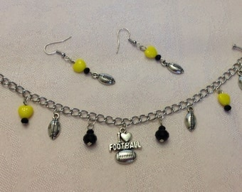 Black and Yellow Pittsburgh Football Bracelet and Earring Set