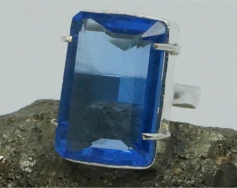 Handcrafted Gemstone Ring FACETED BLUE QUARTZ  925 Silver Plated Sz 8