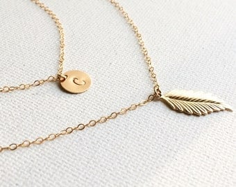 Leaf Initial Layered Necklace / Initial and Leaf Charm Layered Necklace / Personalized Layered Necklace /Double Strand Initial Leaf Necklace