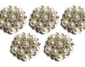 Metal Rhinestone Buttons - Pearl Rhinestones - 20mm - set of  FIVE -White and Clear