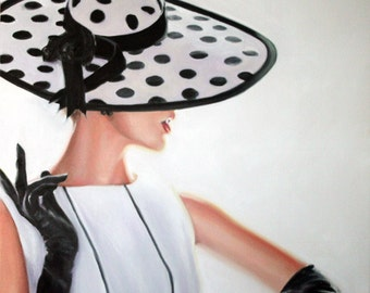 Original Oil Painting: Vintage Black and White Fashion Hat & Gloves