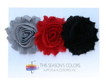 Dramatic Shabby Rose Flower Hair Clips or Ponytail Holders, Set of Three:  Gray, Red & Black
