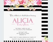 Amorous Bridal Shower Invitation Grand Floral Romantic Celebration Invites Fanciful Wedding Black Stripe Watercolor Printable Brunch Affair