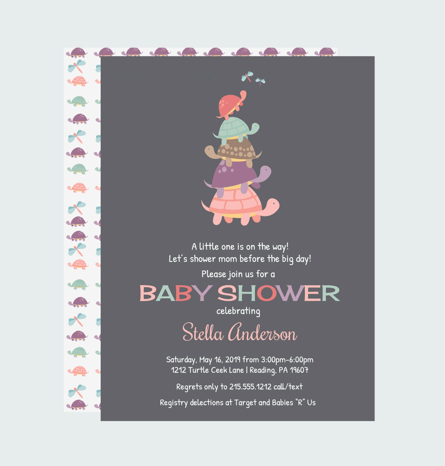 turtle baby shower invitation vintage by papercleverparty on etsy