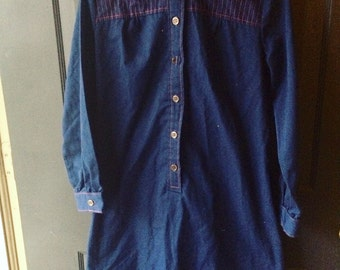 Vintage ladies navy blue and red shirt dress seventies large extra large