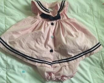 Vintage pink sailor set 3/6 months