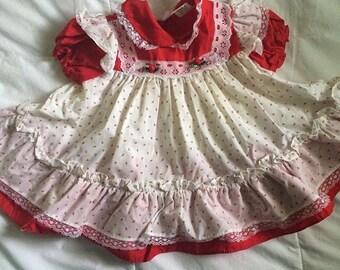 Vintage red rosebud dress or swing top 18-24 Months