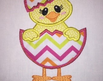 Toddler Easter Chick Applique with Personalized Name Short or Long Sleeve Shirt
