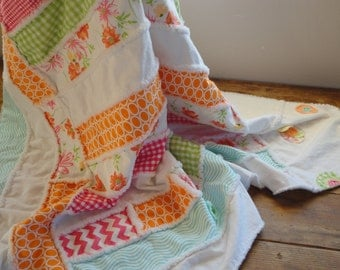 Rag Quilt Throw Blanket Pretty Spring Colors of Tangerine Pink and Green