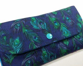 Coupon Holder, Coupon Pouch, Coupon Wallet, Cash Envelope Wallet - Peacock