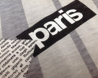 Paris Jersey Knit T-Shirt Fabric With Black, Gray and White Paris Print and French Writing
