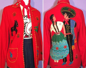 1950's Donkey Mexican Jacket Red Wool with Beautiful Dancers