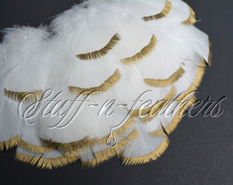 Wholesale / Bulk - Gold Dipped Natural White / Off White feathers, metallic gold, silver, copper, black painted feather, 3-5 in long / FB152