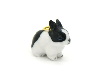 Miniature Porcelain Black and White Rabbit Charm Pendant Hand Painted Porcelain  Glass Bunny Charm Vintage Style Jewelry Supplies (AT109)
