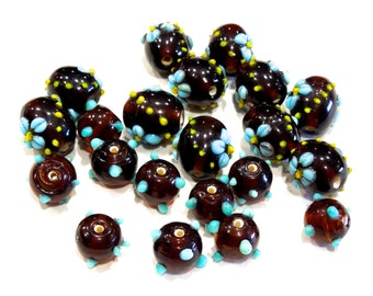 SUPPLY: 21 Lamp Work Centerpiece Glass Beads - (5-A4-00005265)