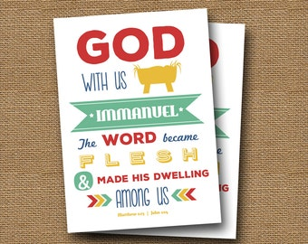 "Instant Download Printable Christian Christmas Card   DIY PRINTABLE   ""God With Us"", Immanuel   Bible, Scripture Holiday Card   John 1:14"