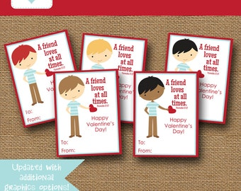 NEW - More Options Included | Boys Classroom Valentine Card | DIY PRINTABLE | Christian, Scripture, Bible Verse Valentine | Instant Download