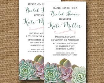 Succulents Bridal Shower Invitation | Succulent Shower | Modern Bridal Shower | Wedding Shower, Rehearsal Dinner Invite | DIY PRINTABLE