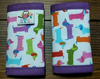 Reversible NEWBORN Car Seat Strap Covers Ann Kelle Mini Spring Dachshunds with Fuchsia Dimple Dot Minky Cuddle Baby Girl Infant ITEM #155