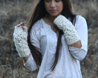 Fingerless Gloves Crochet Textured Wrist Warmers The Cades Cove Gloves in Fisherman