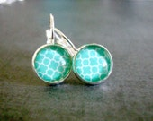Teal Quatrefoil Earrings: Glass French Style