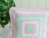 """Dainty cottage chic crochet granny style pillow, handmade in Sweden, pastel colors, mint and pink , 11 x 11 """""""