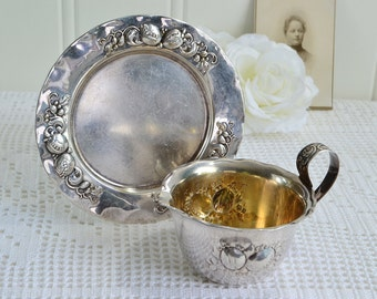 Creamer with tray,  shabby vintage Swedish serving set, Nils Johan tarnished silver plate