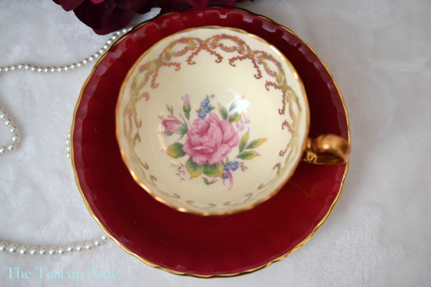 ON SALE Aynsley Red Teacup and Saucer With Pink Roses , English Bone China, Cabinet Collection Teacup, Wedding Gift,  ca. 1939