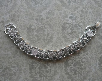 Vintage Silver Hearts & Stars Chain Bracelet - Chunky Chain Bracelet - Costume Jewelry - Statement Bracelet